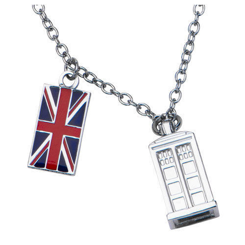 Image 0 of Doctor Who Union Jack Phone Booth Tardis 2 Charm Pendant Costume Necklace 18
