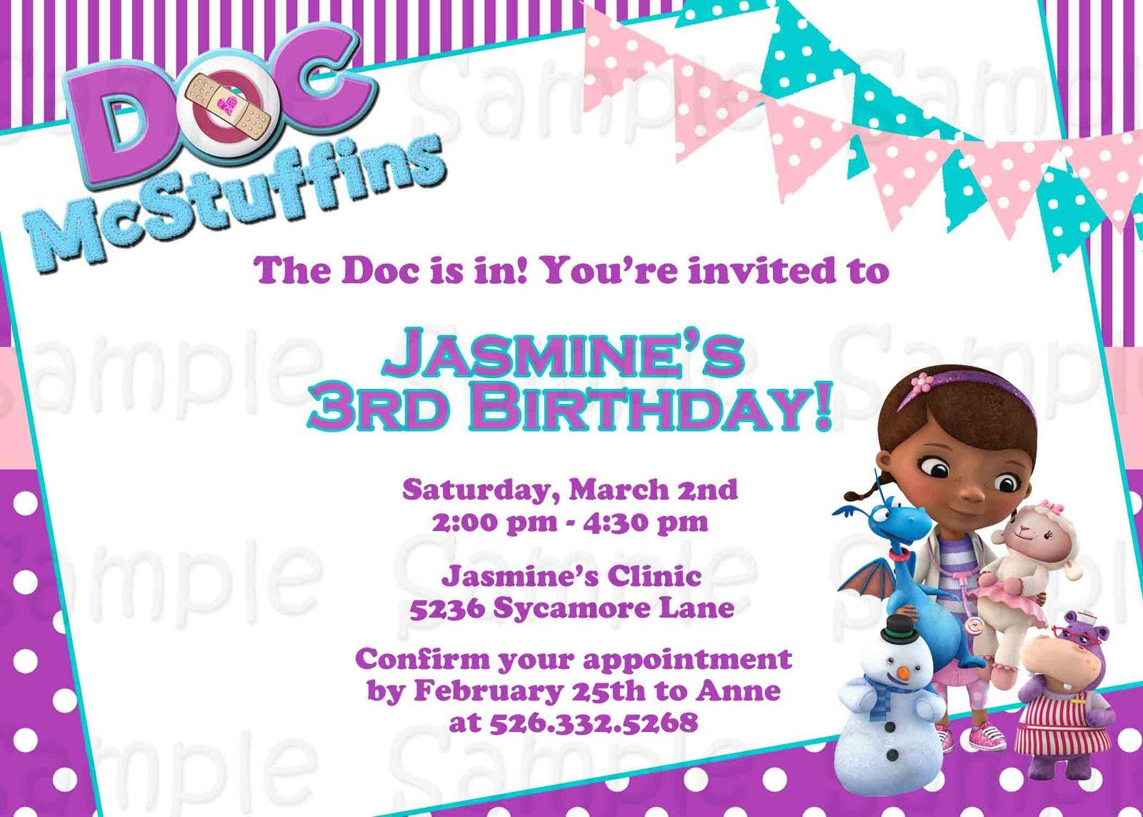 Doc Mcstuffins Custom Invitations was luxury invitation template