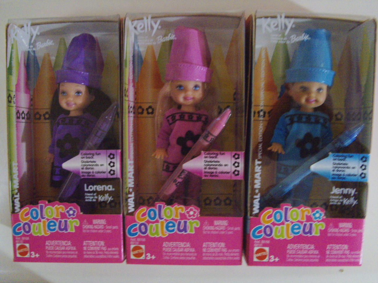 Barbie Color with Kelly 3 doll set Kelly, Jenny, Lorena Wal-Mart Exclusive - New Mattel