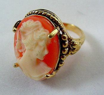Faux Cameo 14 HGE Vintage Ladies Ring Bonanza