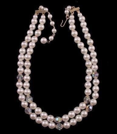 Vintage 2 Strand Faux Pearl & Crystal Necklace Bonanza