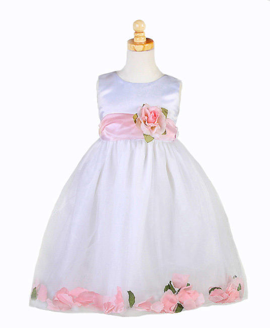 Image 2 of Stunning White Christening Flower Girl Dress w/Pink Petals Crayon Kids USA - Whi