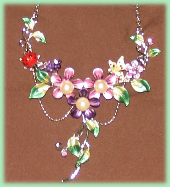 Floral Necklace Earring Set Ladybug & Butterfly Purple Crystals Bonanza