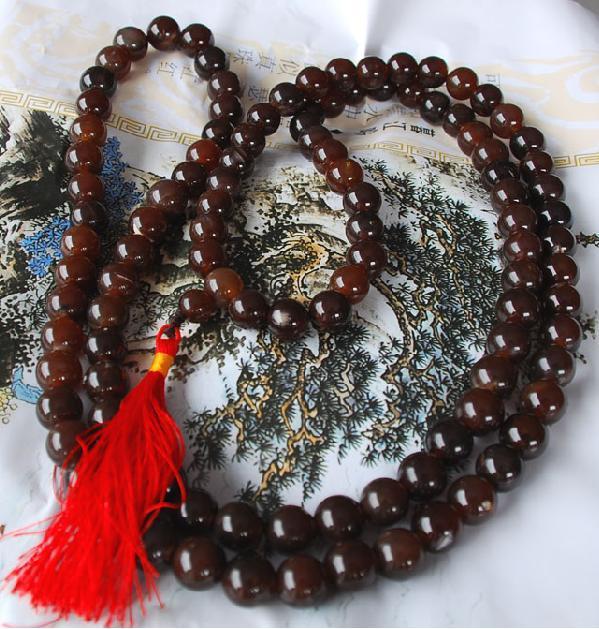 Tibetan 108 Red agate Prayer Beads Mala Necklace  Bonanza