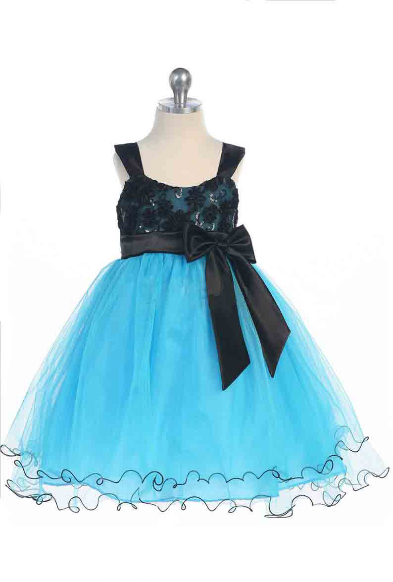 Image 1 of Stunning Girl's Chic Turquoise/Black Flower Girl Pageant Party Dress, USA - Turq