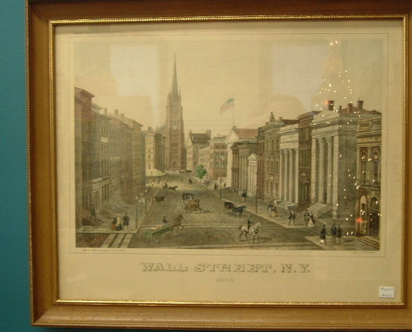 Antique Lithograph Print Wall St NY Deroy Aug Kollner