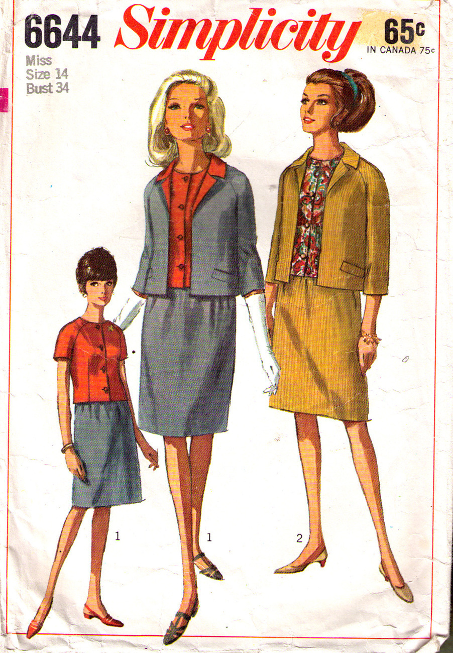 1966 SUIT & OVERBLOUSE Pattern 6644-s Size 14 - Complete Simplicity New Look