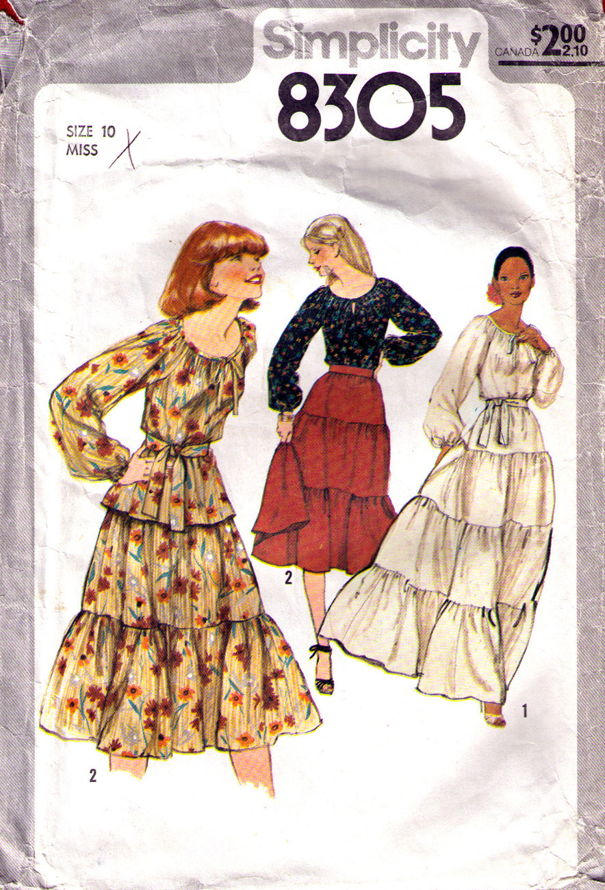 1977 BLOUSE & TIERED SKIRT Pattern 8305-s Size 10 - Complete Simplicity New Look