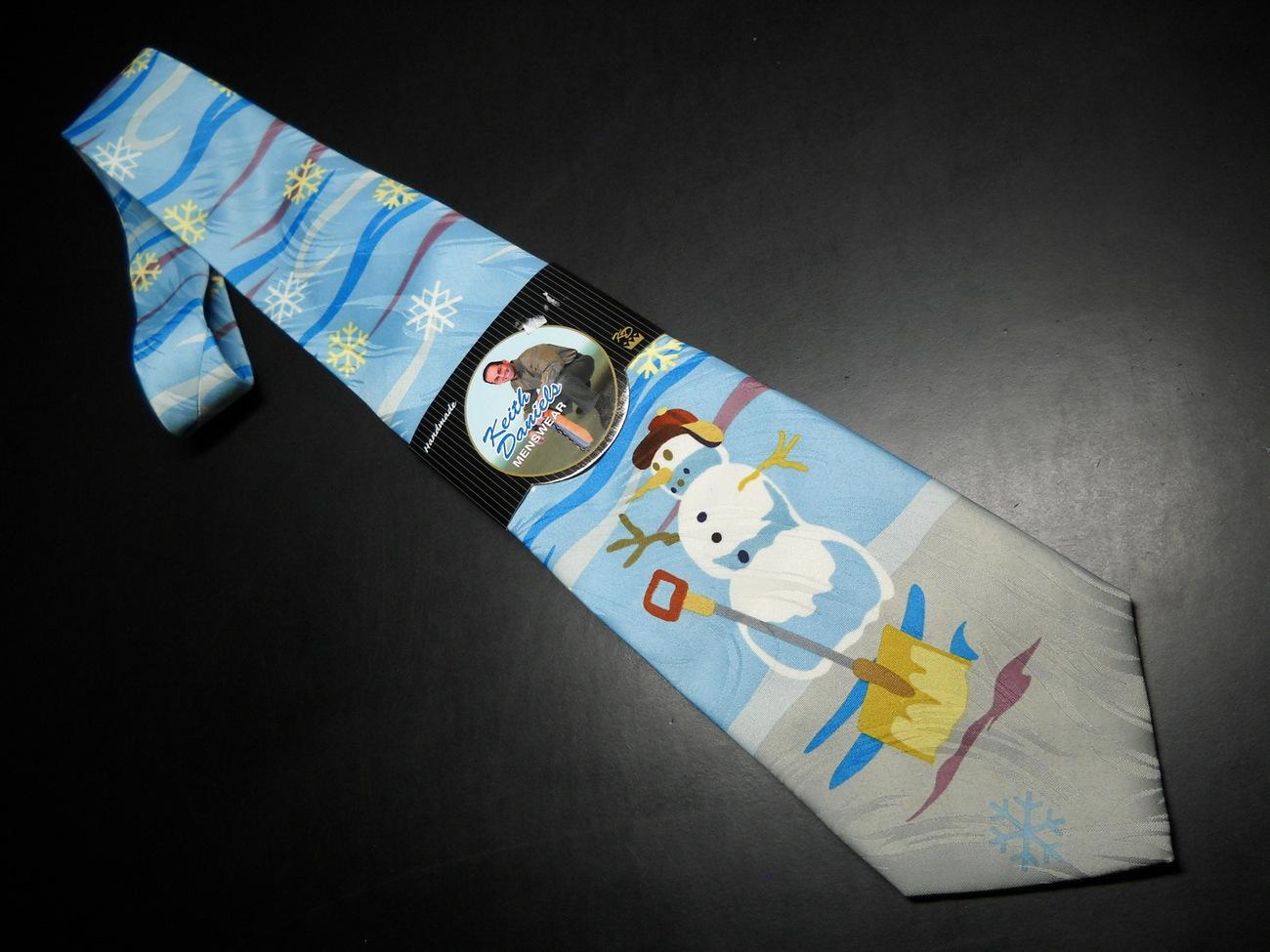 Keith Daniels Neck Tie Blue Christmas Snowman Unused Still in Paper  Sleeve Keith Daniels