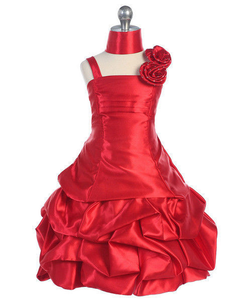 Image 2 of Elegant Girl's Fuchsia or Red Flower Girl Pageant Party Dress w/Pick-ups