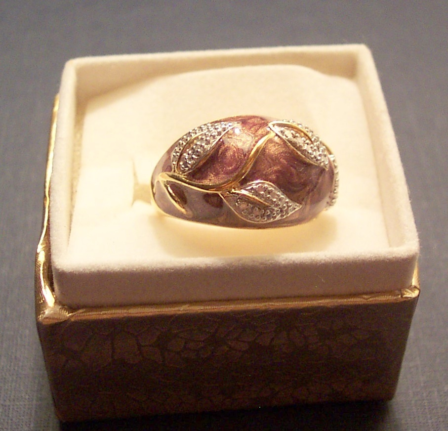 Diamond & Enamel Dome Ring Bonanza