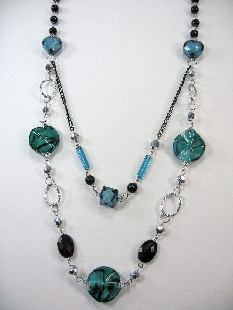 AWESOME BLACK TURQUOISE SILVER multi SHAPE BEADS 2 LAYERS LONG NECKLACE 14-17