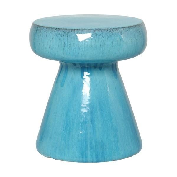 Aqua Blue Mushroom Ceramic Garden Stool End Or Side Table