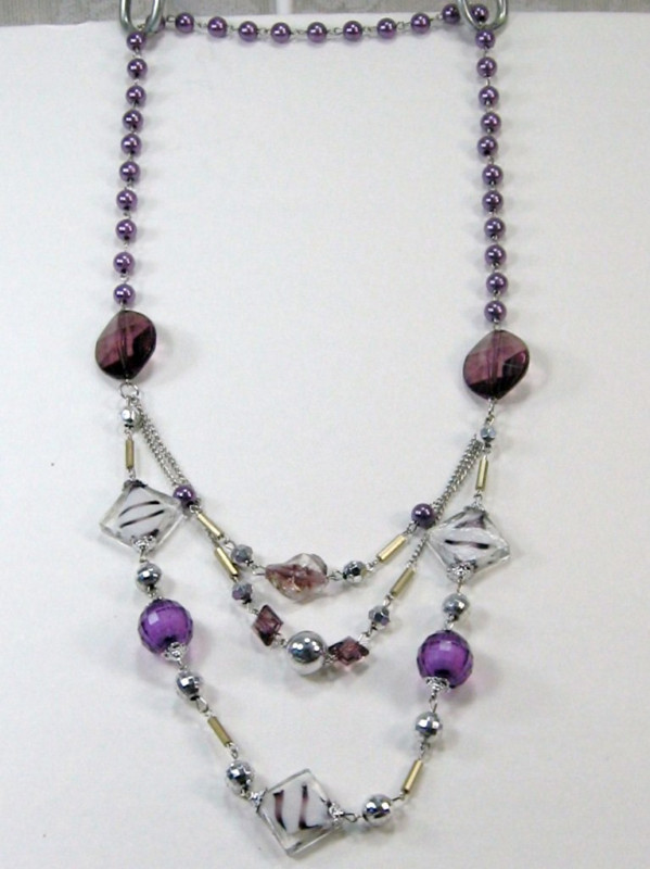 PURPLE SILVER WHITE BEADS 3 strand LONG NECKLACE 14-17