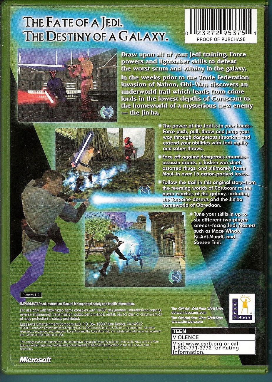 Image 1 of Star Wars Obi-Wan XBox video game 2001