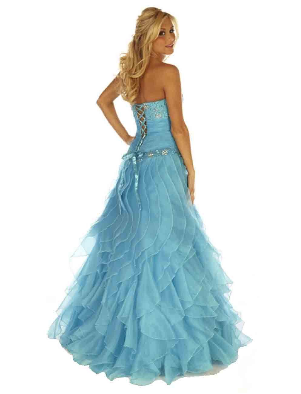 Image 1 of Sexy Strapless Corset Aqua Cinderella Mermaid Prom Evening Gown Joli 9538 12
