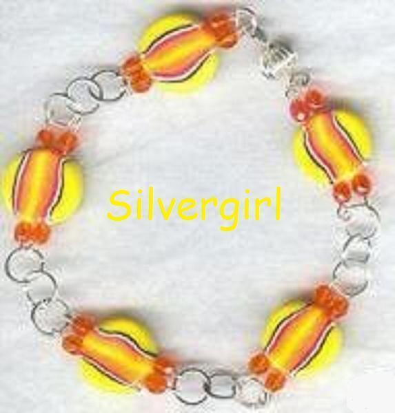Sun Orange Yellow Pink Black Polymer Clay Bracelet