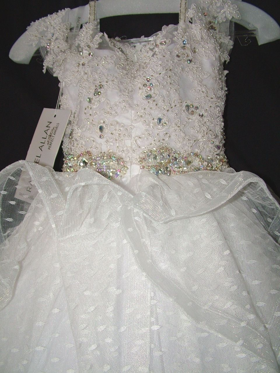Image 4 of Perfect Angels Little Girls' Beaded Tiered All White Pageant/Flower Gown Dress -