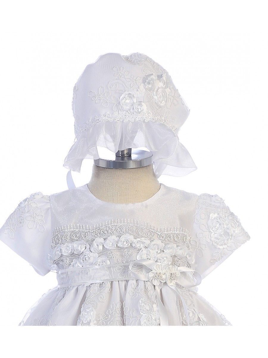 Image 1 of Exquisite Lace Detail Baby Girl Christening Dress Hat Set, Crayon Kids USA BC238