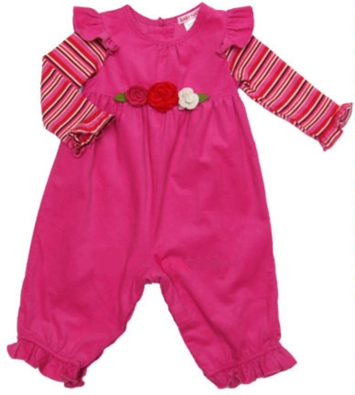Image 0 of Precious Baby Nay Butterfly Sleeve Rose Motif Baby Girl Pink Cord Long Romper -