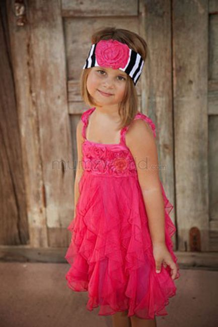 Image 0 of Fun Flirty Precious One Posh Kid Cascading Ruffles Tulle Dress, Fuchsia or Aqua