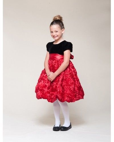 Image 5 of Dressy Velvet Top Swirl Floral Red Skirt Pageant Flower Girl Dress Crayon Kids -