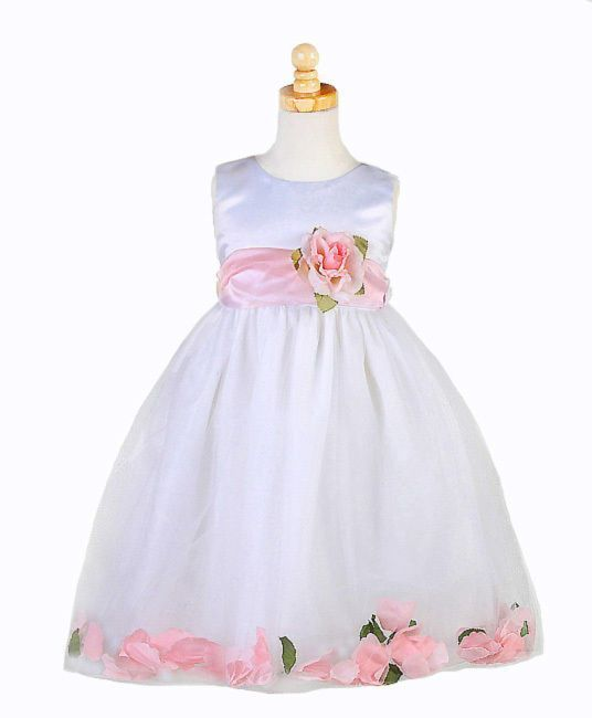 Stunning White Christening Flower Girl Dress w/Pink Petals Crayon Kids USA - Whi
