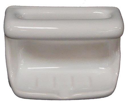 Porcelain Soap Dish with Wash Cloth - White Bonanza
