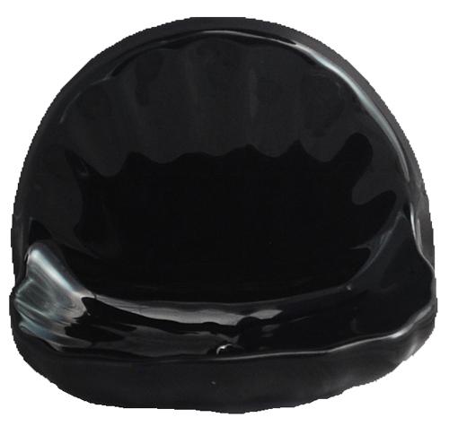 Ceramic Glaze Soap Dish Shell Glossy Black Bonanza