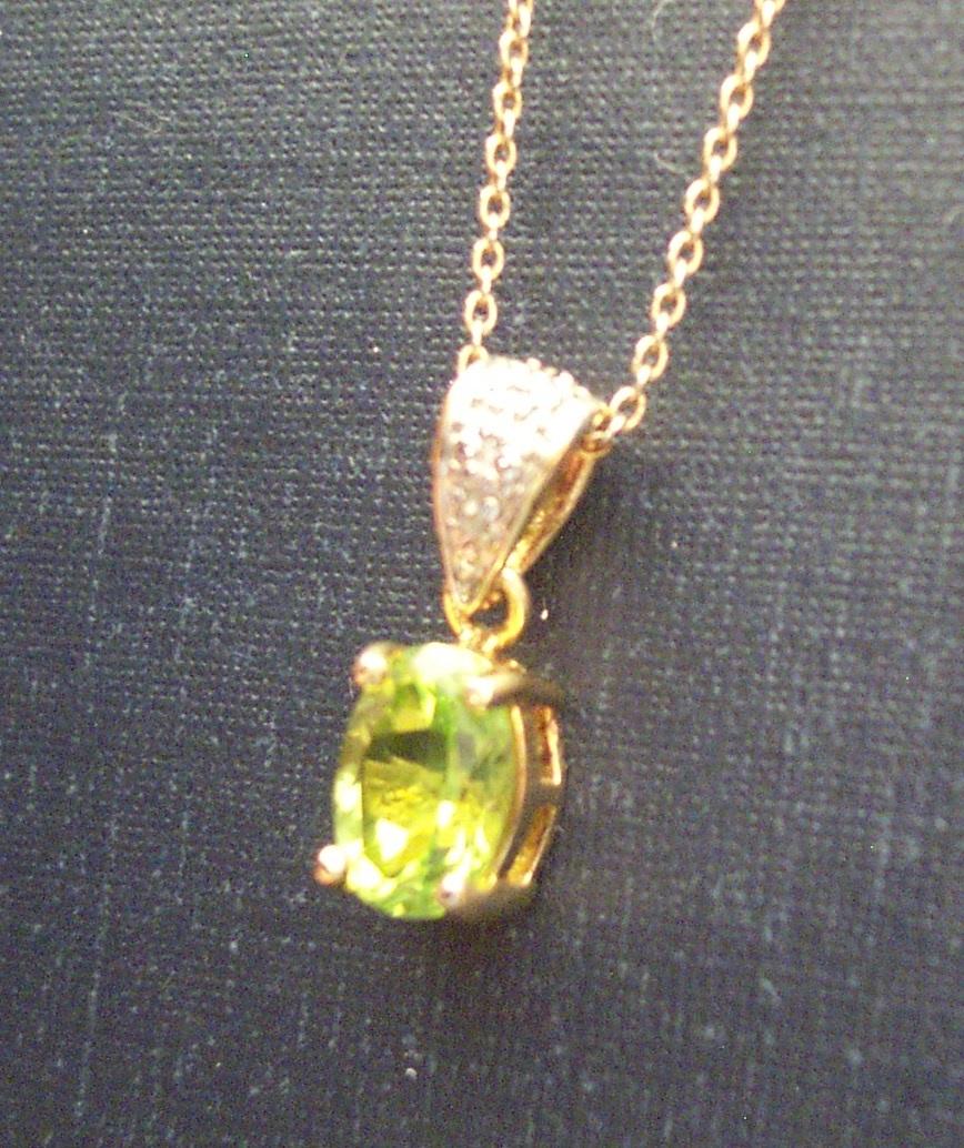 Peridot with Diamond Accent Necklace Bonanza