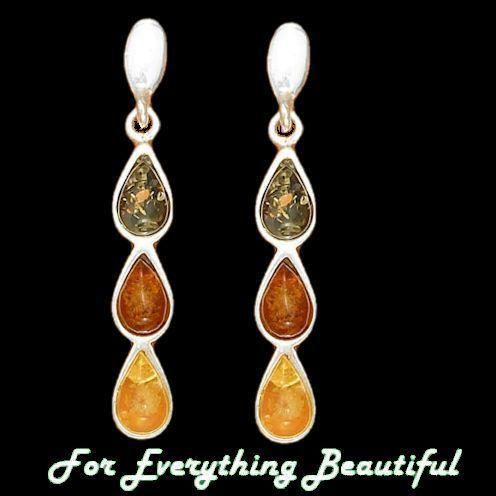 Amber Green Honey Yellow Teardrop Silver Earrings