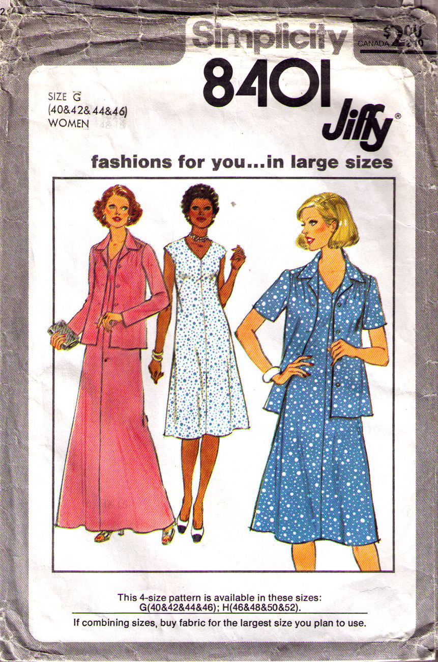 1977 Dress & Jacket Pattern 8401-s Complete for Size 40-42-44 Simplicity New Look