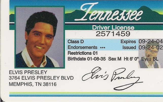 Elvis Presley Tennessee Driver License And 50 Similar Items