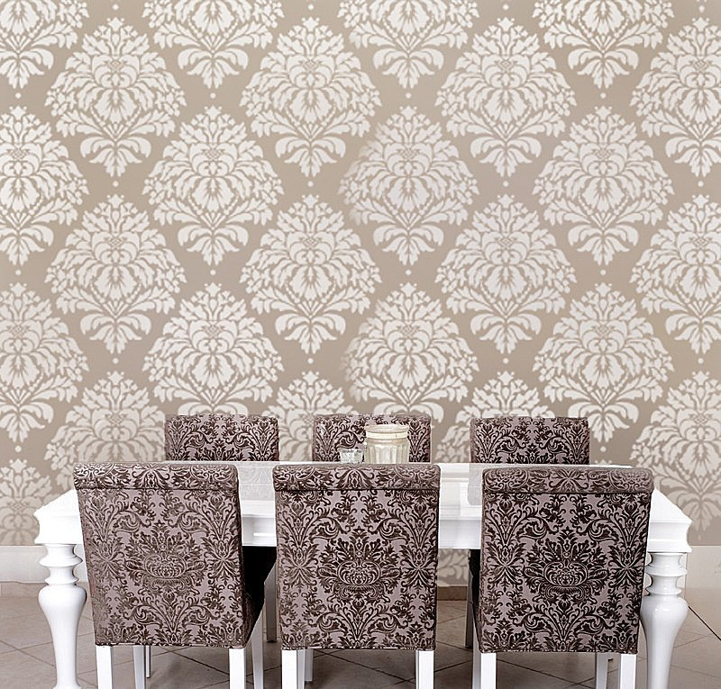 Wall Decor With Stencils : Wall stencil damask kerry lg reusable stencils for diy