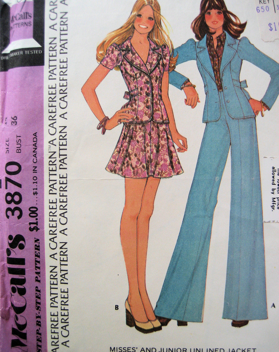 McCalls 3870 Womans Size 14 Jacket Bells Skirt  Vintage70s Pattern Unused McCall's