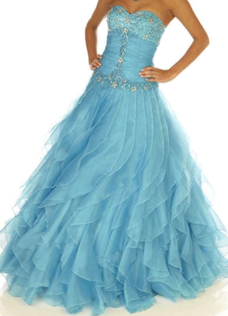 Image 4 of Sexy Strapless Corset Aqua Cinderella Mermaid Prom Evening Gown Joli 9538 12