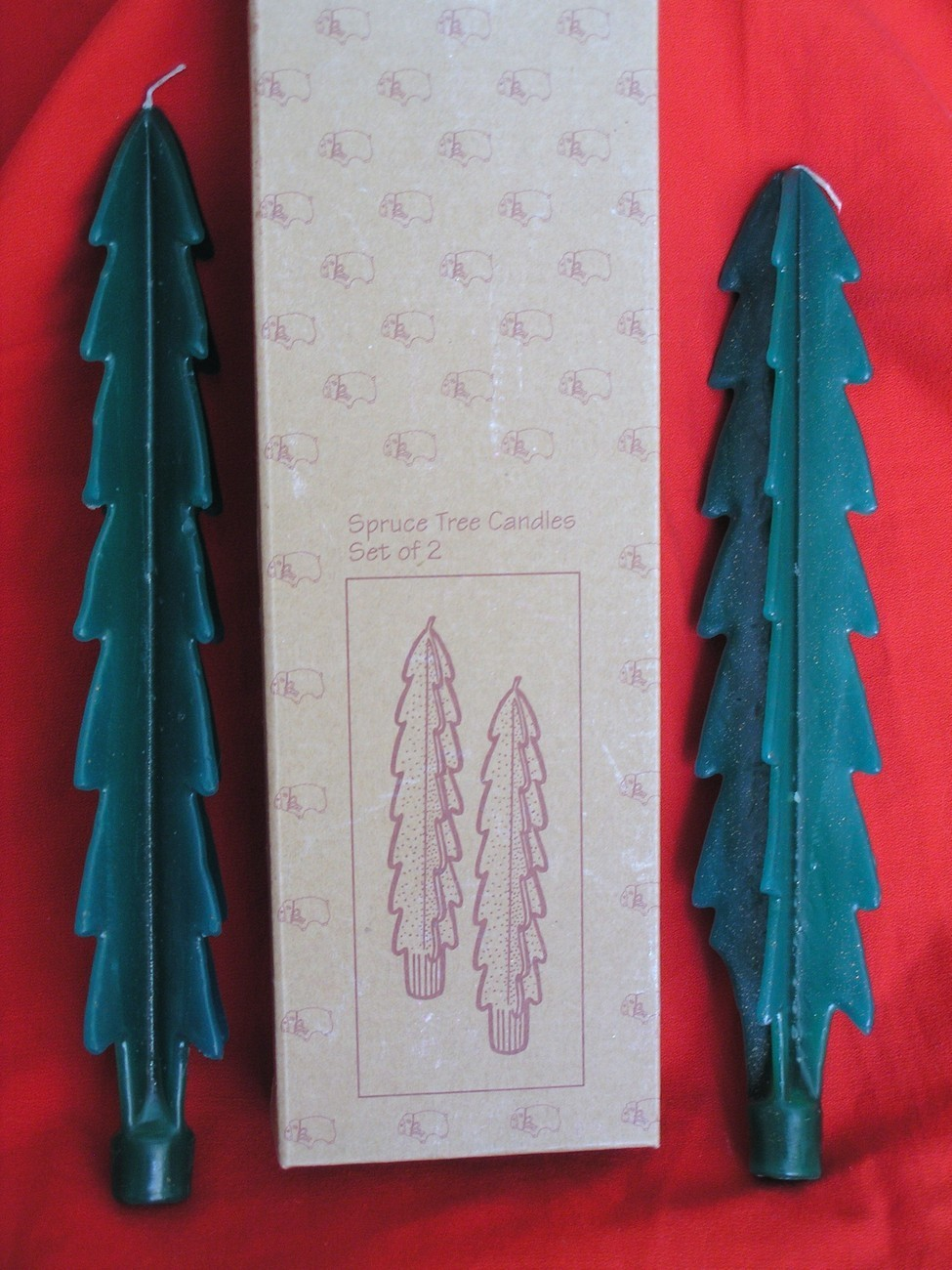 Christmas Spruce Tree Shaped Taper Candles -Set of 2