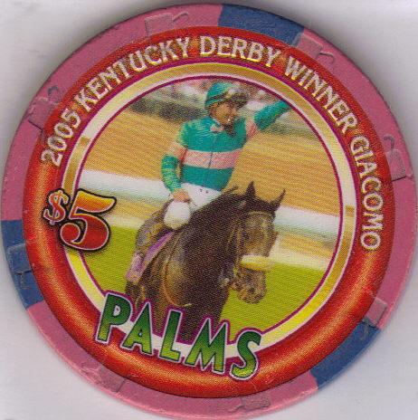 $5 2005 KENTUCKY DERBY WINNER GIACOMO Palms Vegas Chip Bonanza