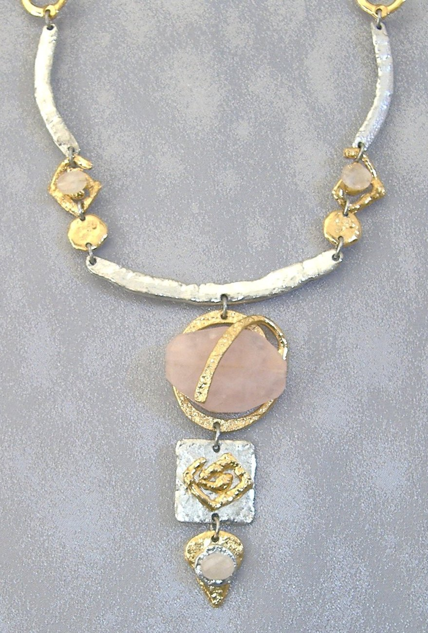 Pink Semi-Precious Stone Necklace Unique Silver Gold Gemstone Handcrafted  Handmade