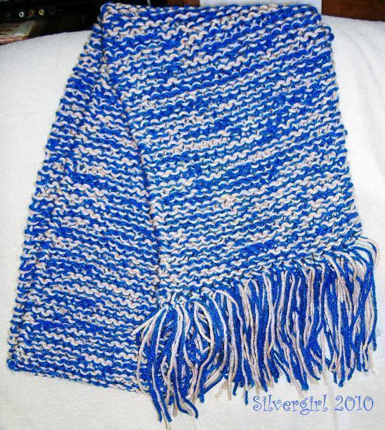 Hand Knit Scarf Slightly Sparkly Blue Tan 54