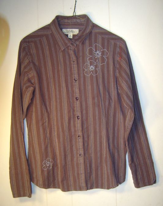 """Cabela's"" brown cotton blouse with blue and yellow stripes...Size Medium"