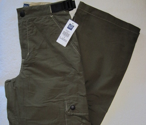 Gap Boys Cargo Pants Olive Green Size 12 Adjustable Waist New
