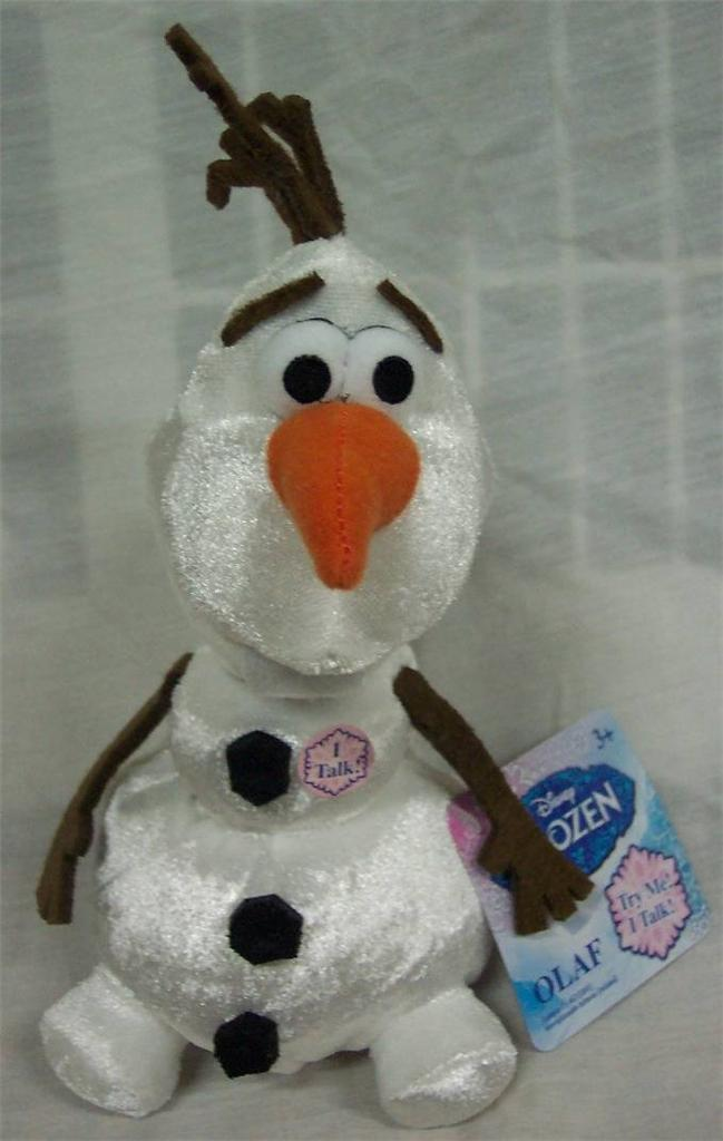 "Walt Disney Frozen TALKING OLAF SNOWMAN 8"" Plush STUFFED ANIMAL Toy NEW"