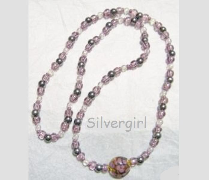 Long Beaded Plastic Glass Necklace AB Purple Mix