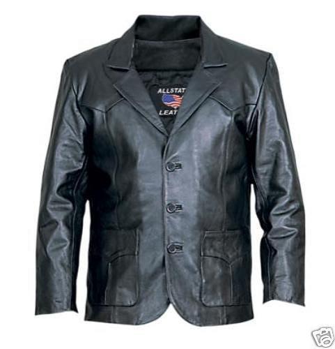 Mens Leather Western Blazer Dress Coat Biker Jacket Allstate Leather