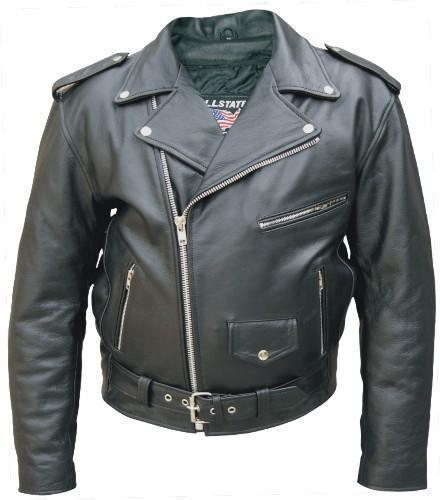 Mens Big & Tall Buffalo Leather Motorcycle Biker Jacket 50-66 Allstate Leather