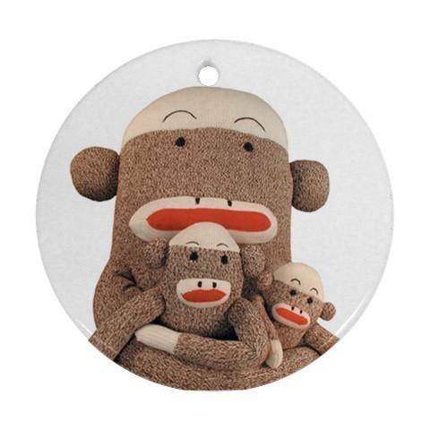 Family Sock Monkey Round Porcelain Christmas Ornament Blue Skies Plus LLC