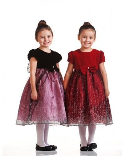 Precious Velvet Top Sparkle Skirt Holiday Flower Girl Dress Crayon Kids USA - Pu
