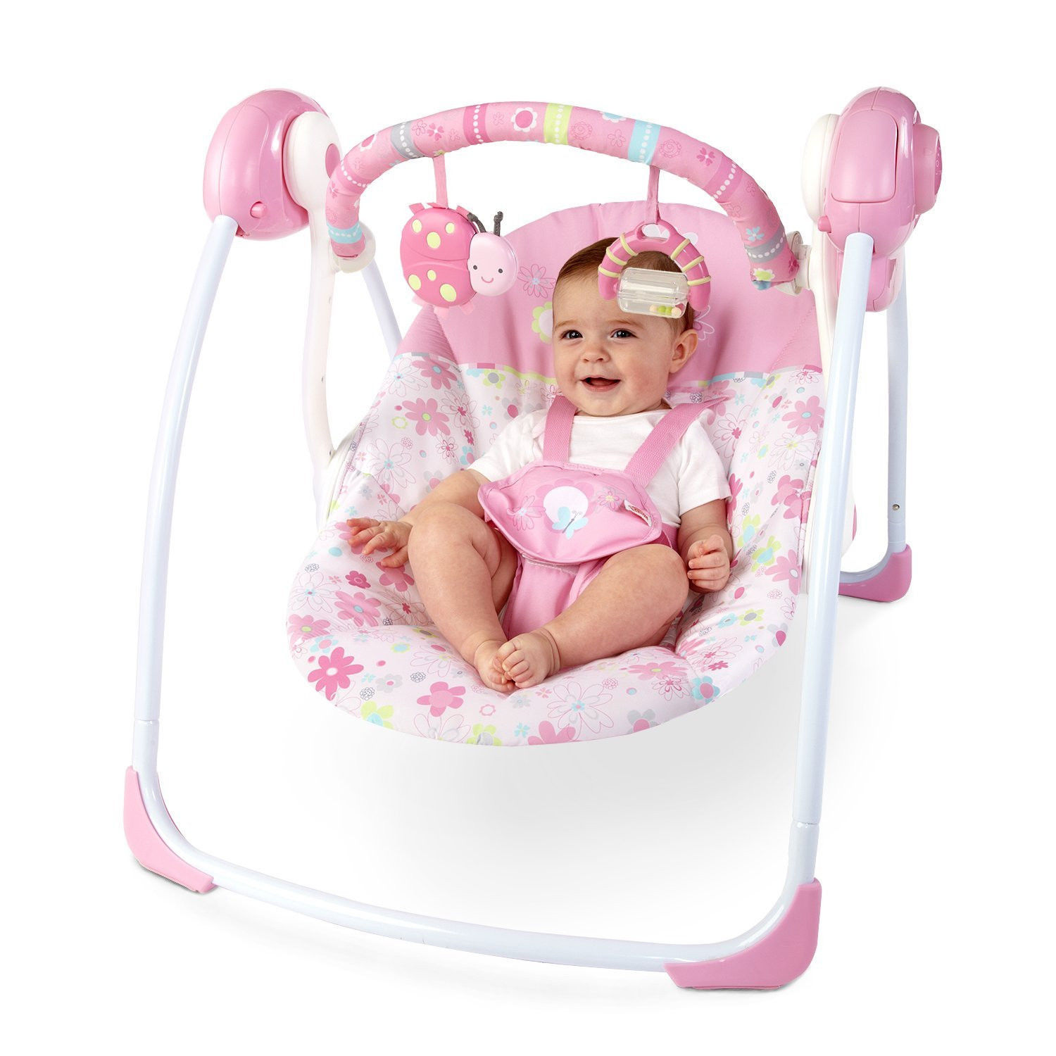 Baby Girl Portable Pink Swing 6 Speeds Amp 2 Reclines Mobile