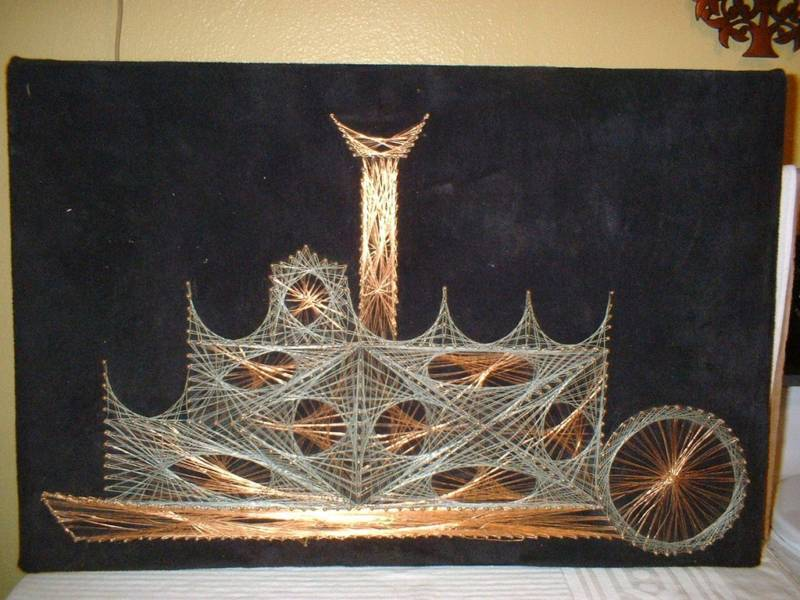 Large Tramp Art Copper Wire String Art Wall Hanging